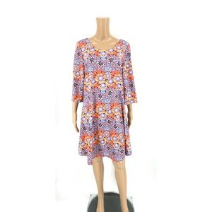 Tracy Negoshian A-Line Dress Orange Floral Print